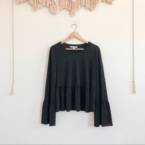 Elizabeth and James Sheer Chiffon Bell Sleeve Top